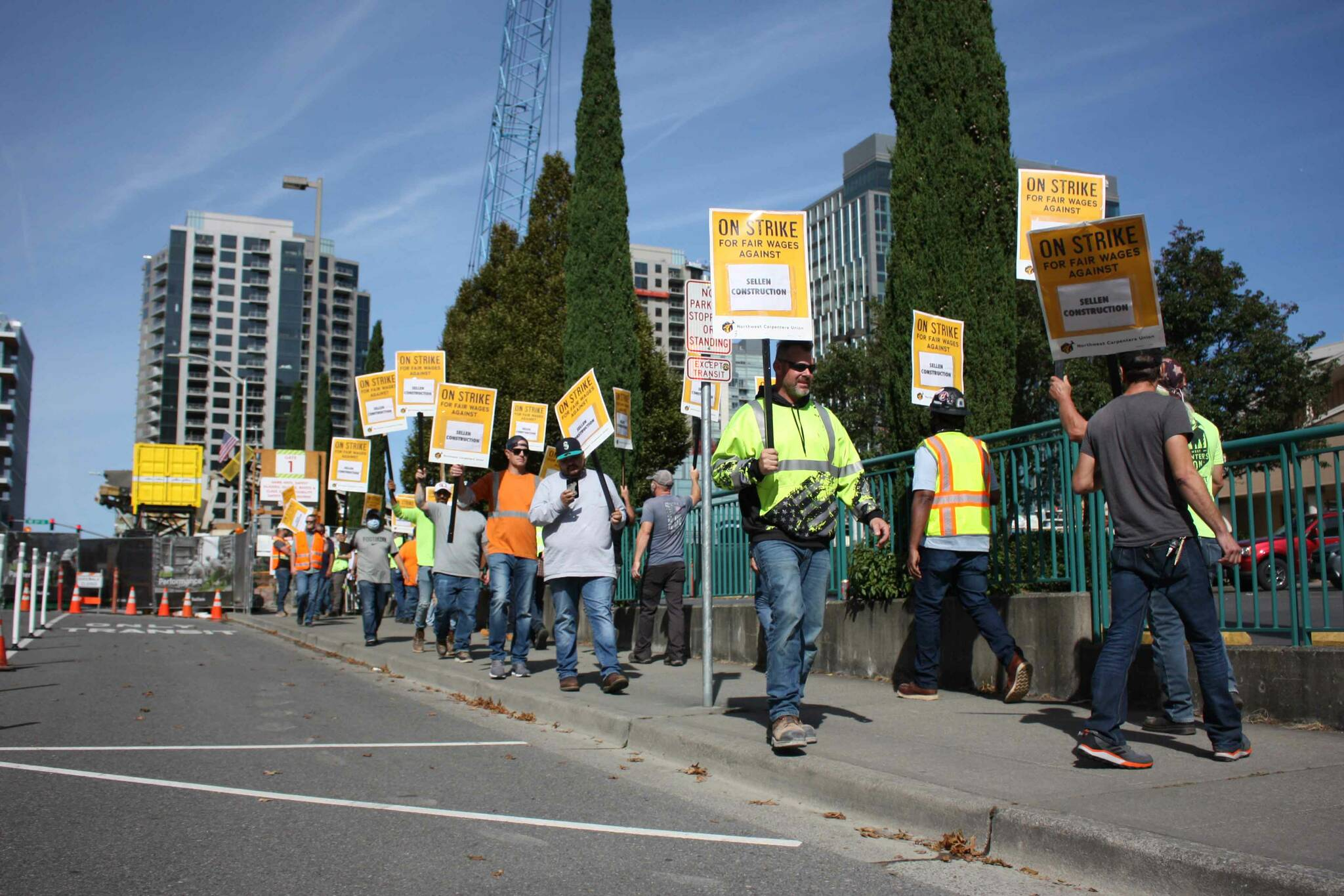 NW Carpenters Union members strike in downtown Bellevue on Sept. 16 (photo by Cameron Sheppard)
